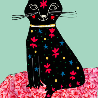 meow red floral
