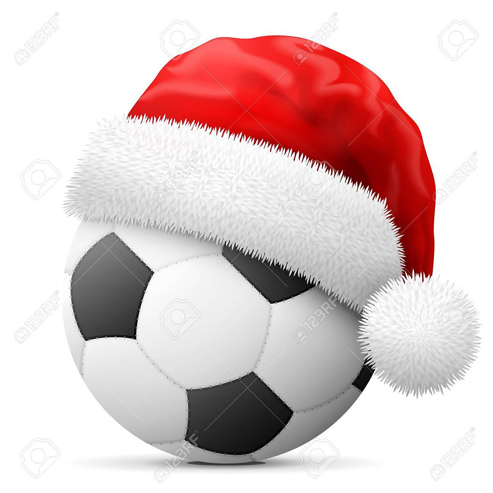 xmas football with hat on