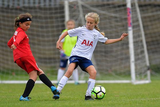 Girls football training