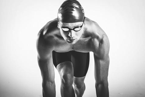 Studie portrait of Olympic athlete Adam Peaty