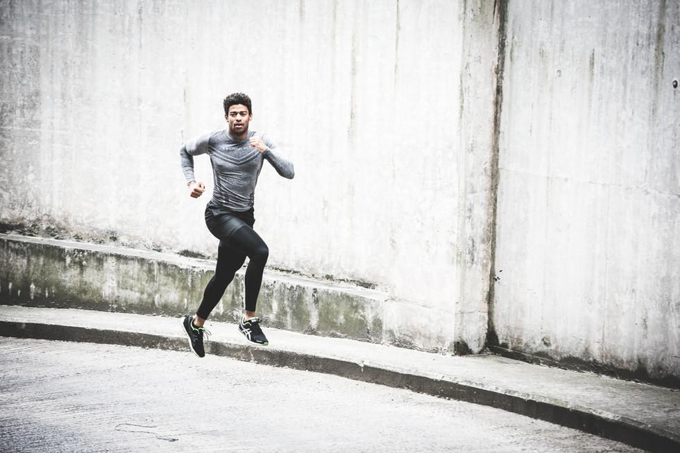 Male runner action shot