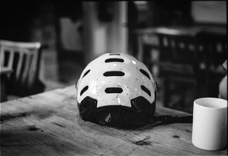 Helmet on table