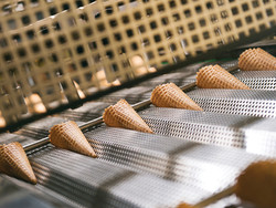 cones on cooling conveyor
