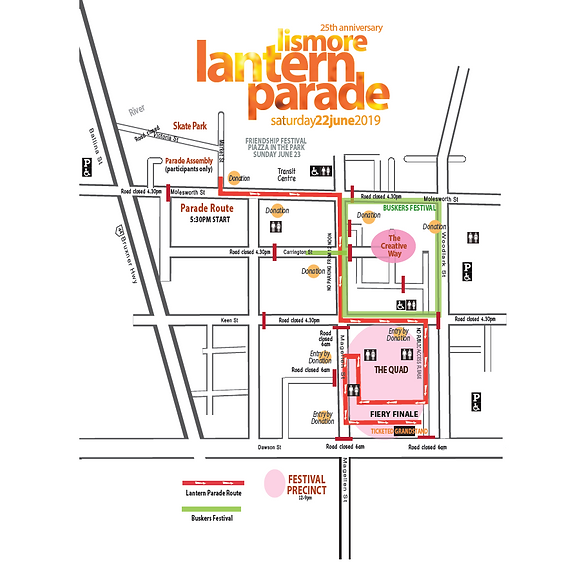 lismore lantern parade route map.png
