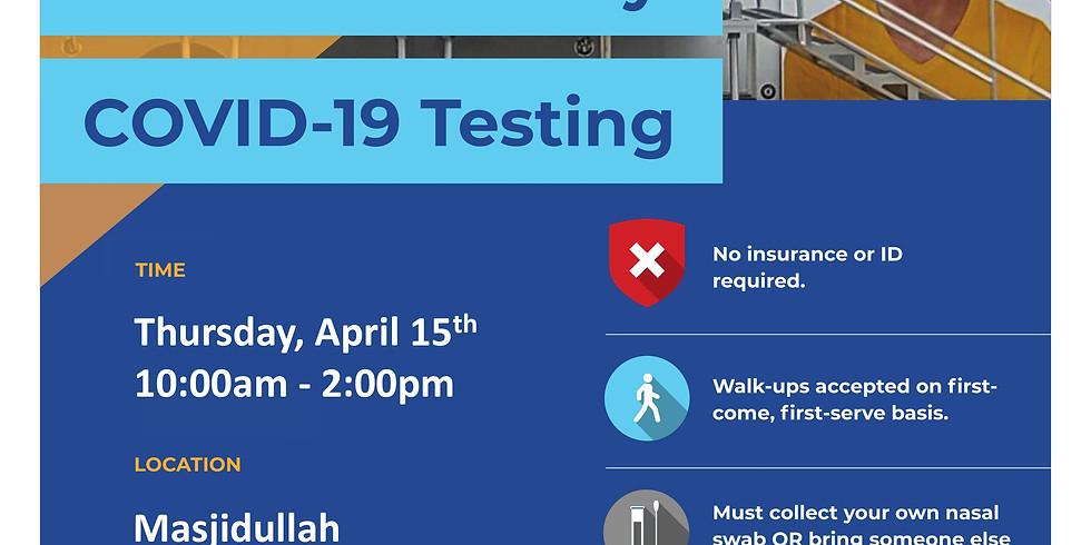 Free Community COVID-19 Testing at Masjidullah