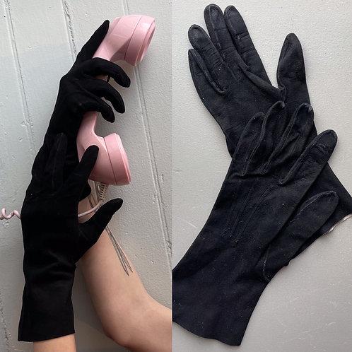 Vintage Suede Leather Wrist Gloves