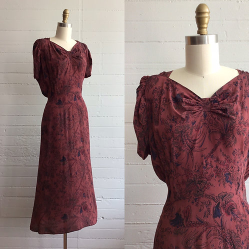 1930s Maroon Crepe Floral Dress - Small