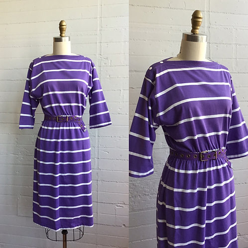 1980s Striped Midi Dress - XSmall / Small