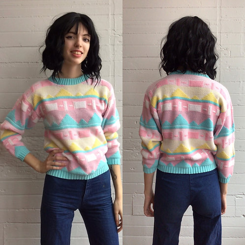 1980s Pastel Funky Print Sweater - XSmall / Small