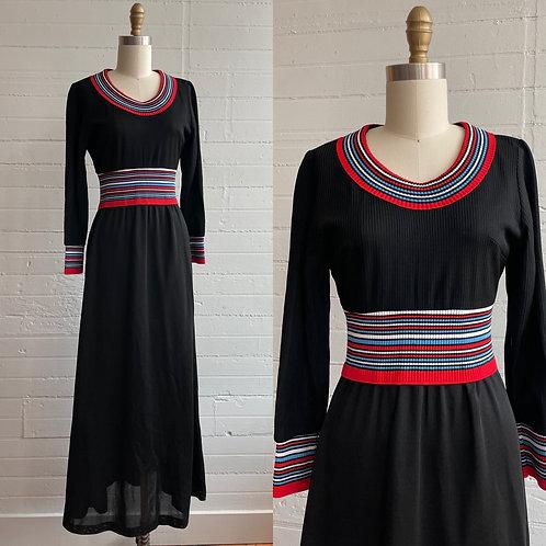 1970s Black Long Sleeve Maxi Dress - Medium