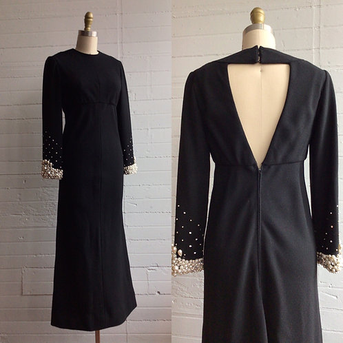 1980s Black Maxi Dress with Open Back and Pearl Beading - Small / Medium