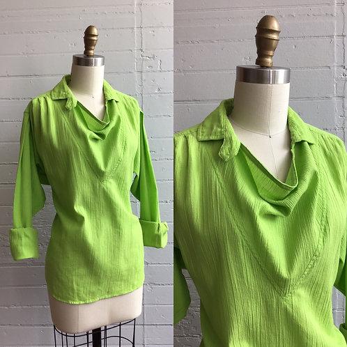 1980s Slime Lime Green Cowl Neck Blouse - Medium / Large