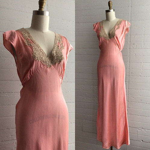 1930s Pink Slip Dress - Medium / Large