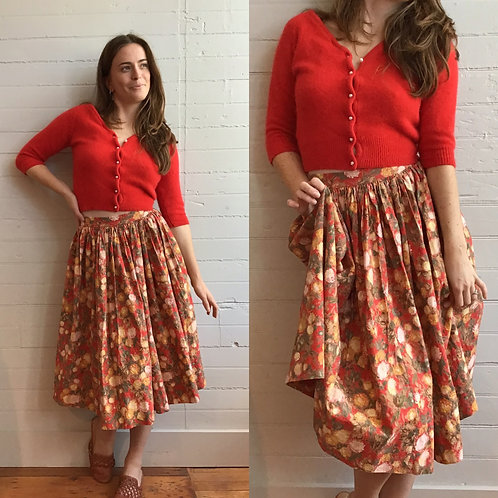 1950s Red Floral Gathered Skirt - XSmall