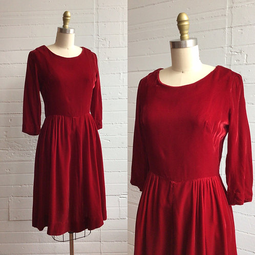 1960s Red Velvet Full Skirt Dress - Small