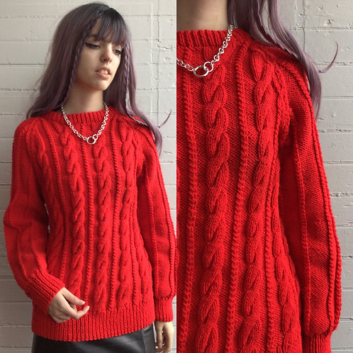 1980s Red Cable Knit Oversized Sweater - Small / Medium