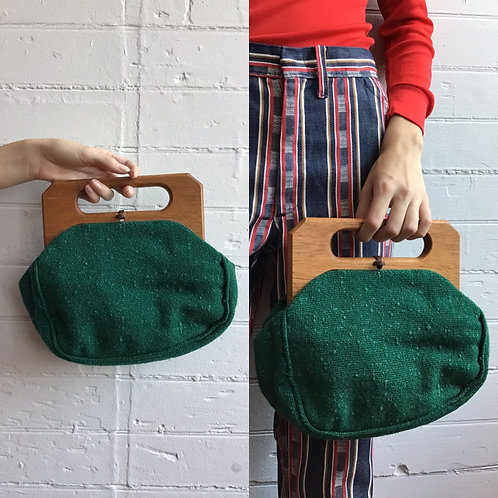 1970s Forest Green Clutch with Wooden Handle