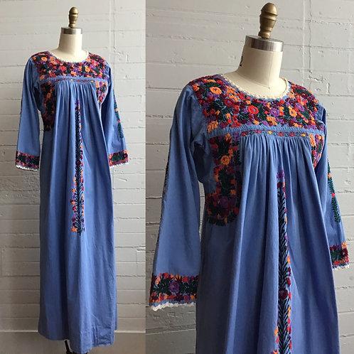 1970s Embroidered Maxi Dress - Small / Medium