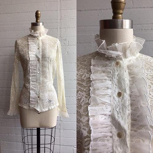 1970s Cream Lace and Ruffle Sheer Blouse - Small / Medium