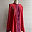 Thumbnail: 1990s Red Silk Embroidered Blouse - Large