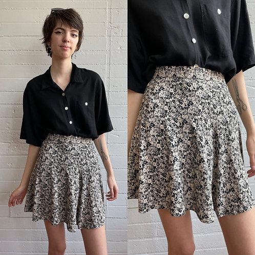 1990s Floral Rayon Mini Skirt - Medium