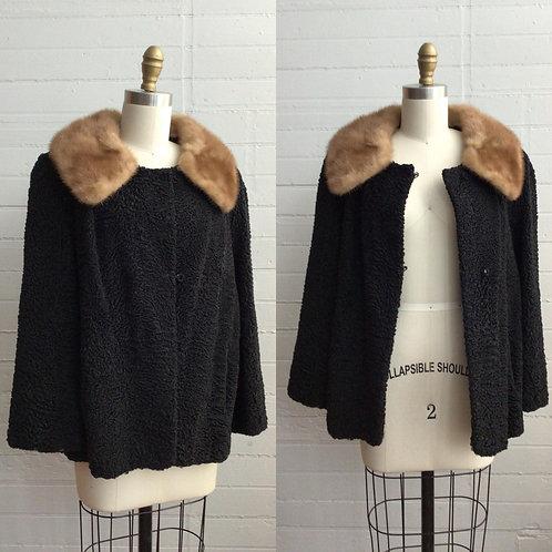 1960s Lambswool Crop Coat with Mink Collar - XLarge