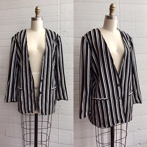 1980s Striped Boxy Blazer - Large
