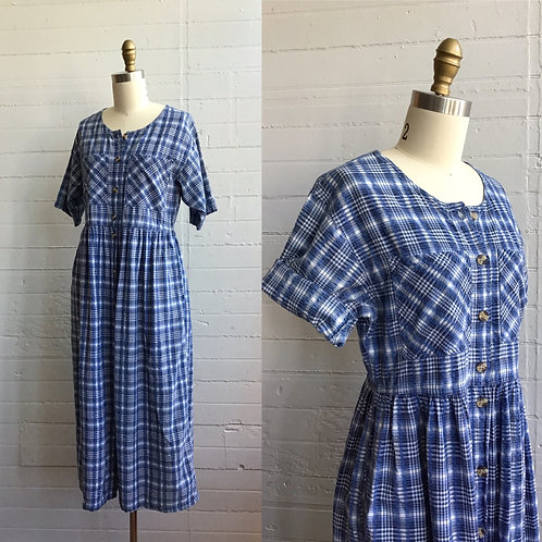 1980s Textured Plaid Dress - Medium
