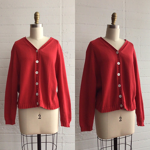1990s Red Cotton Cardigan - Medium / Large