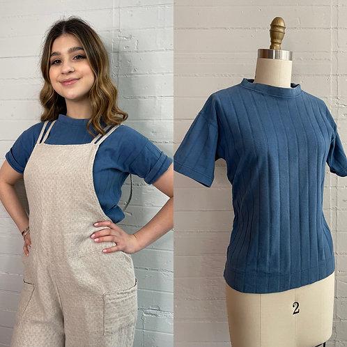 1970s Blue Cotton Ribbed tee - Small / Medium