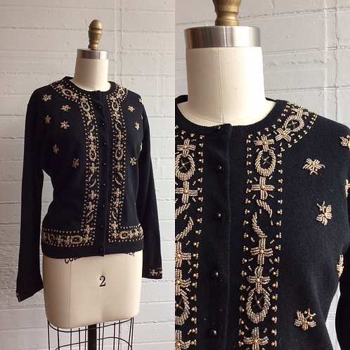 1960s Black and Gold Beaded Cardigan - Medium / Large