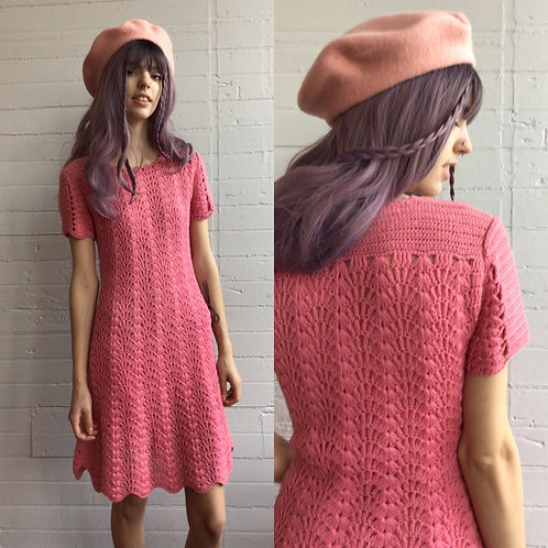 1970s Pink Knit Sweater Dress - Medium