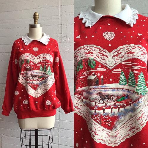 1980s Holiday Grandma Sweatshirt - Large