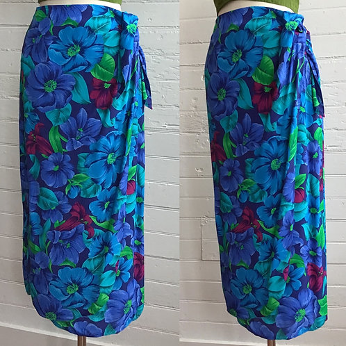 1980s Tropical Wrap Skirt - Small