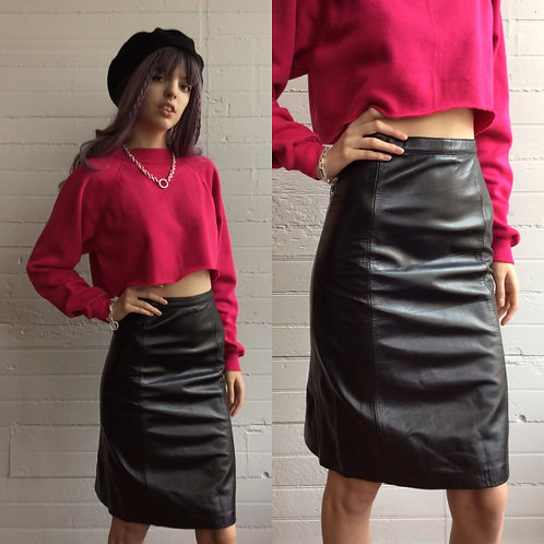 1990s Black Leather Pencil Skirt - Xsmall
