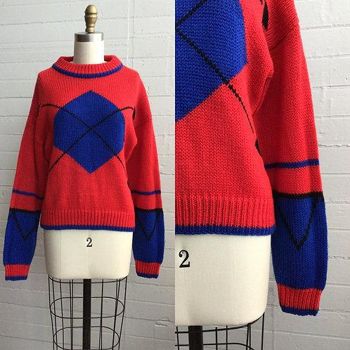 1980s Bright Red Argyle Sweater - Medium / Large