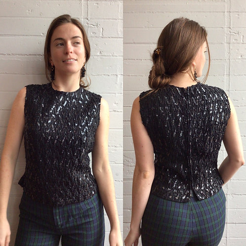 1960s Cropped Black Sequin Top - Small