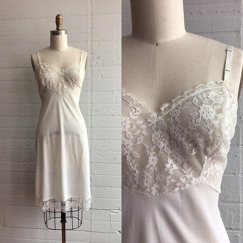 1980s White Lace Slip Dress - Medium