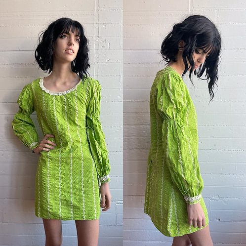 1970s Lime Green Mini Dress - Small