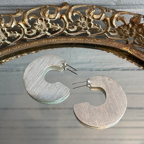 Silver Flat 3/4 Hoop Earrings