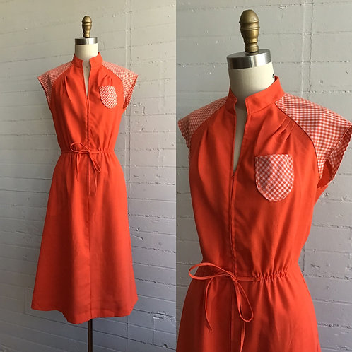 1970s Orange Gingham A Line Dress - Small