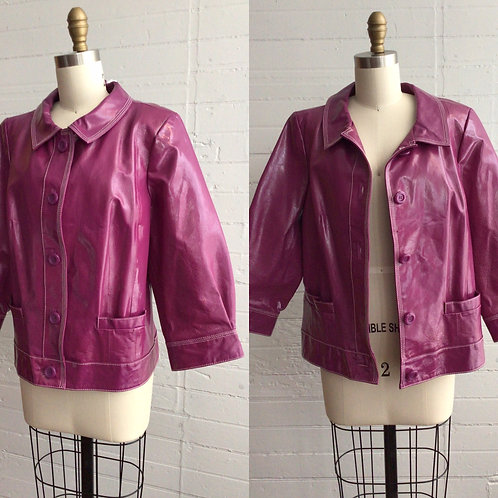 00s Purple Patent Leather Jacket - Large