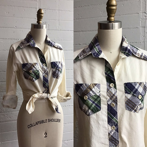1970s Plaid Trimmed Blouse - Small / Medium