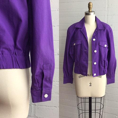1980s Purple Cropped Jacket - Medium