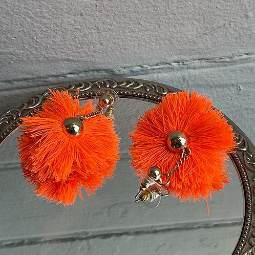 Orange Fringe Puff Earrings