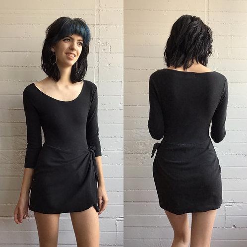 1980s Black Leotard Mini Dress - Xsmall