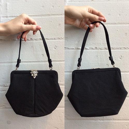 1950s Black Little Handbag