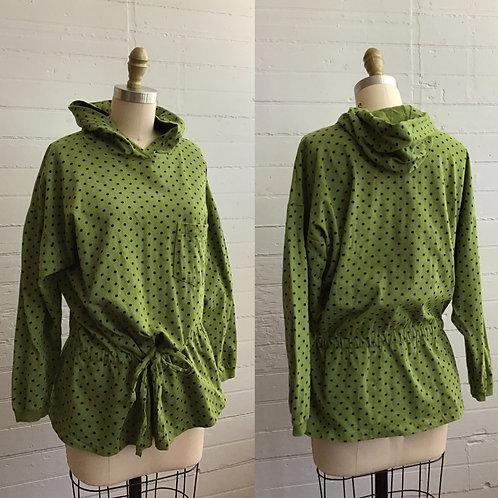 1980s Green Polka Dot Hoodie - Medium Large XL