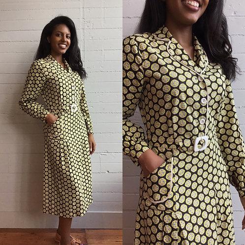 1930s Cotton Polka Dot Day Dress -  Small