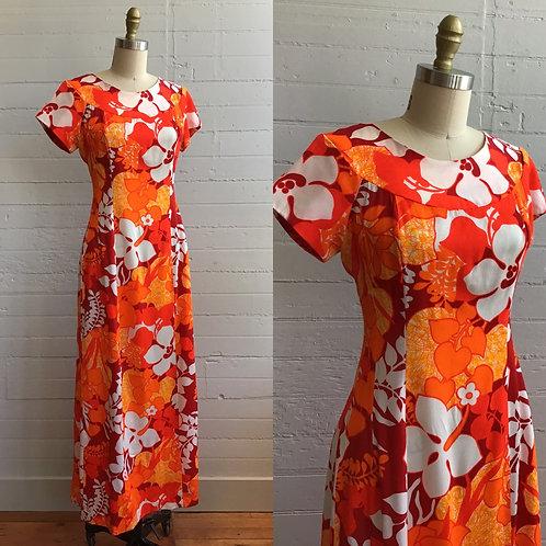 1970s Neon Orange Hawaiian Maxi Dress - Medium